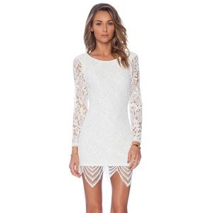 Lovers + Friends White Sterling Lace Bodycon Dress